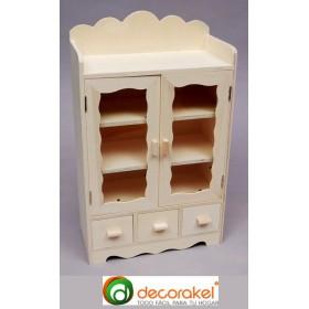 Mueble de madera con puertas y 3 cajones