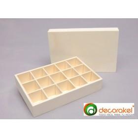 Caja madera con tapa y compartimentos
