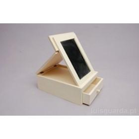 Caja de madera joyero con espejo