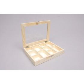 Caja con 10 Divisiones y Tapa de Cristal