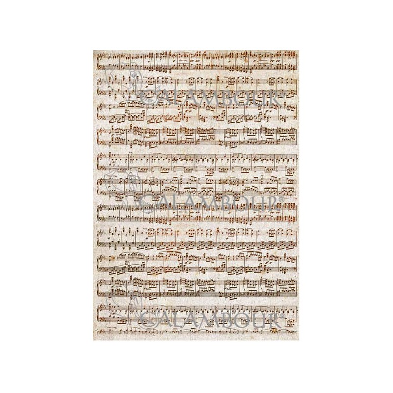 PAPEL ARROZ 35X50CM VINTAGE  NOTAS MUSICALES