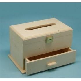 Caja de madera para pañuelos con cajón