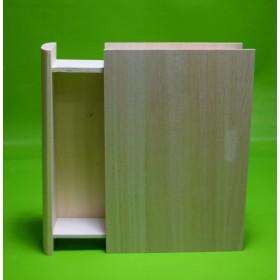 Caja de madera en forma de libro