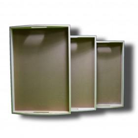 set de 3 bandeja madera